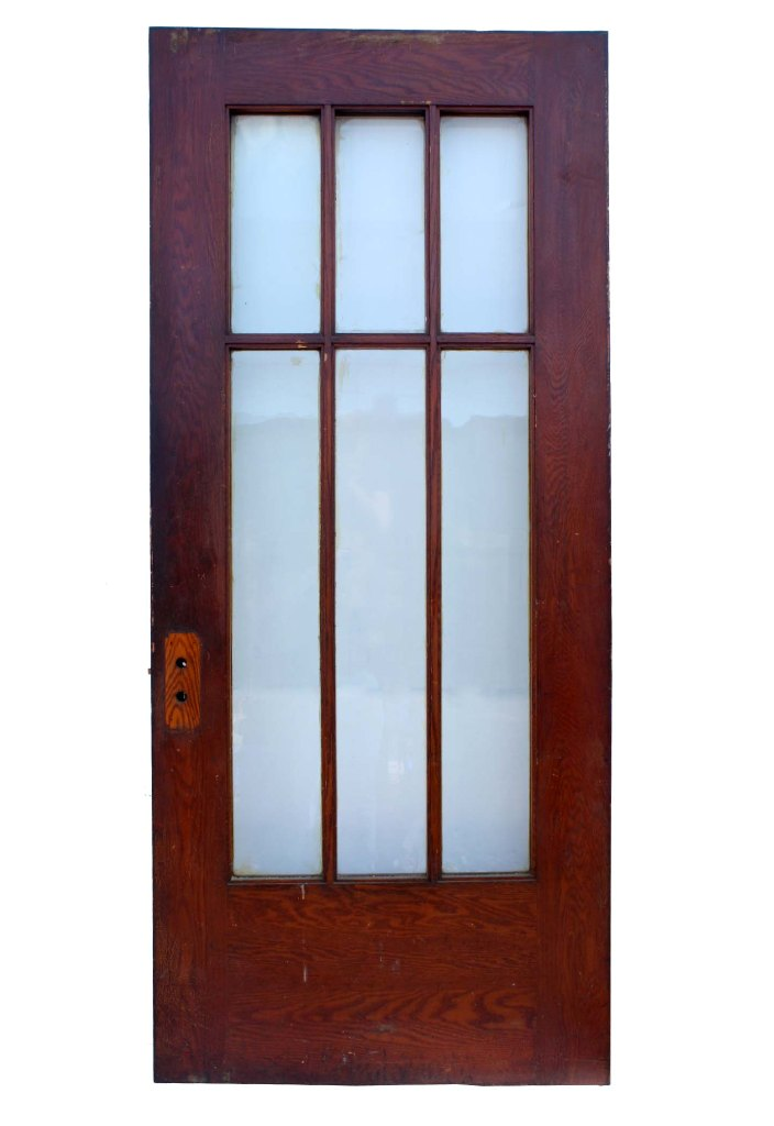 Antique Arts Crafts 36 Exterior Oak Door NED45 For Sale