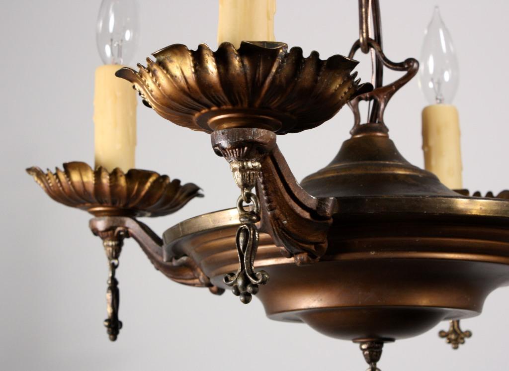 Charming Antique Brass Four-Light Chandelier, c. 1920's NC930 - For Sale - Charming Antique Brass Four-Light Chandelier, C. 1920's NC930 For
