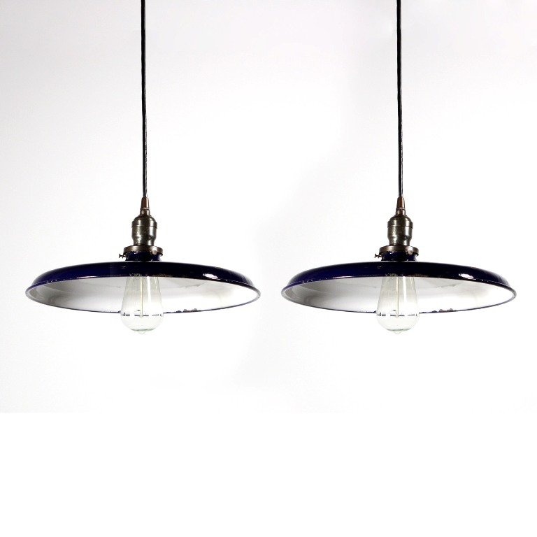 Vintage Industrial Enamel Pendant Light: Two Matching Rare Antique Industrial Pendant Lights, Blue