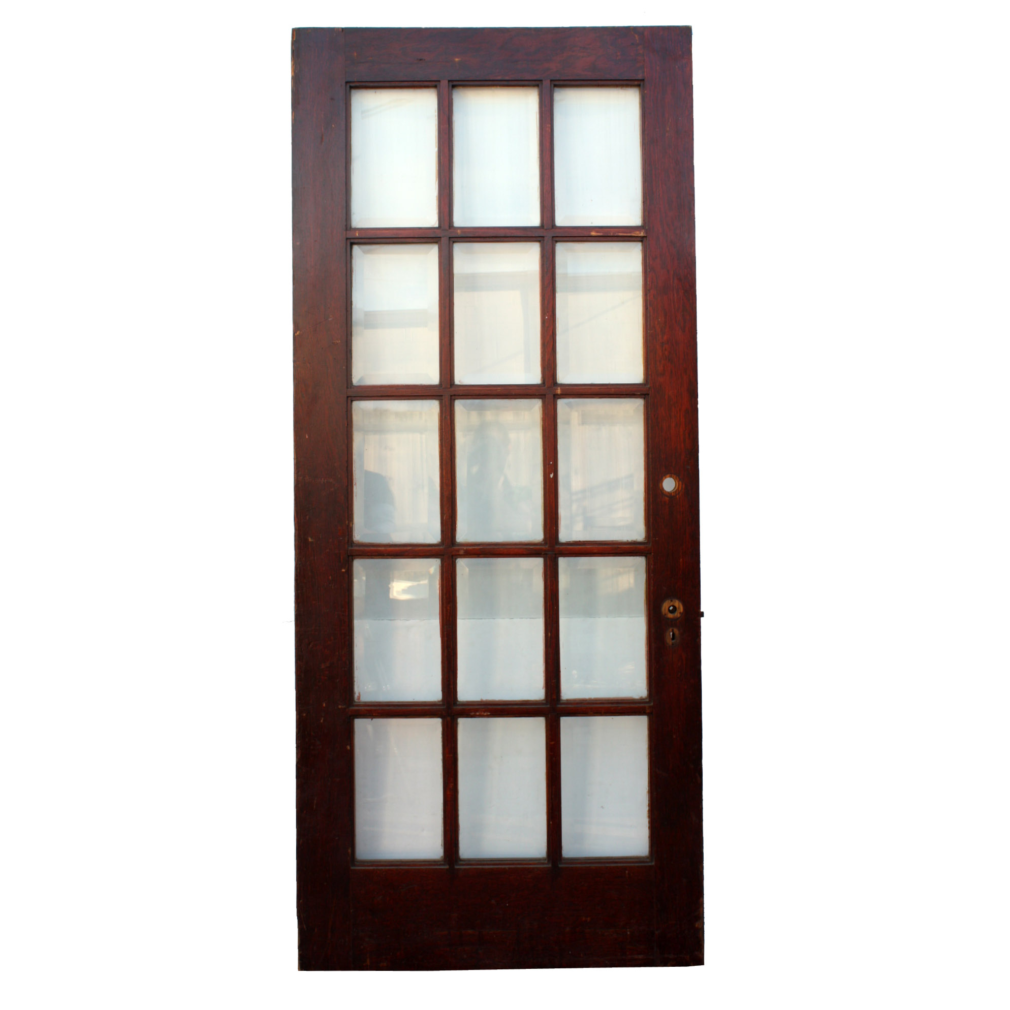 Salvaged 34 5 8 Exterior Oak Door With Beveled Glass NED86 For Sale Antiqu