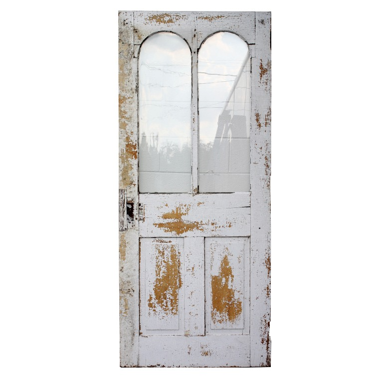 Charming Antique 34 Exterior Door with Arched Windows, c. 1870 NED71-RW -  For Sale - Charming Antique 34 Exterior Door With Arched Windows, C. 1870