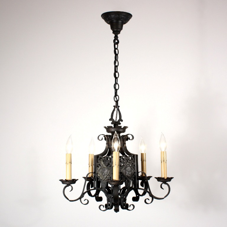 Unusual Antique Figural Spanish Revival Chandelier With