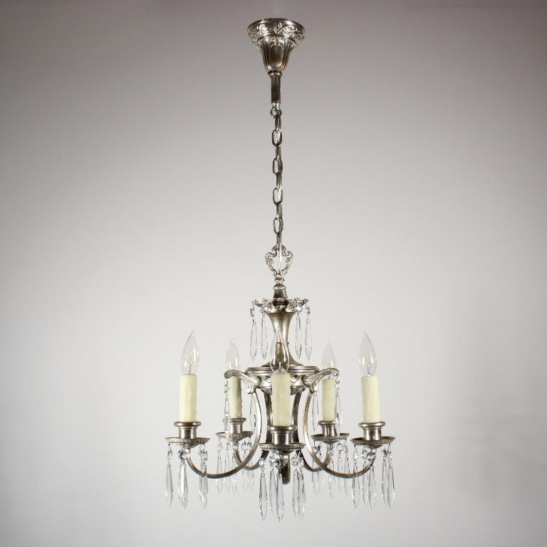 Beautiful antique five light silver plated art nouveau for Chandelier art nouveau
