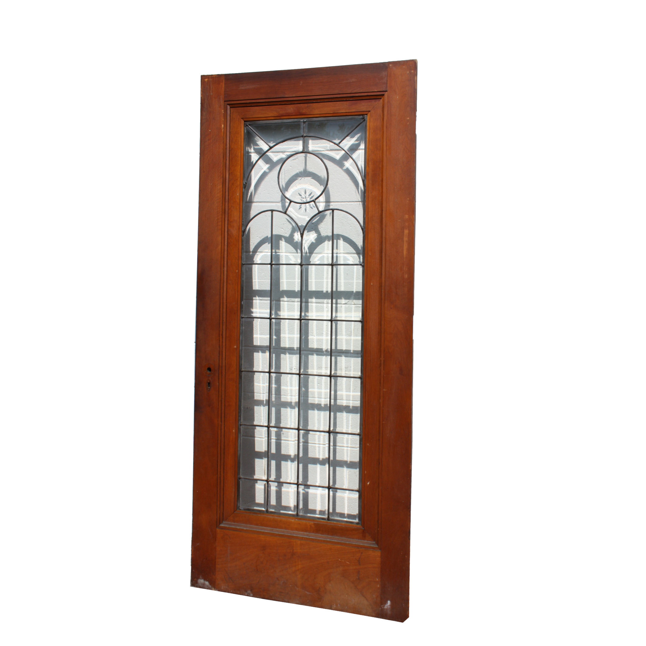 "2129 #77351A Beautiful 34"" Salvaged Exterior Door With Beveled & Leaded Glass  picture/photo Leaded Glass Exterior Doors 40292129"