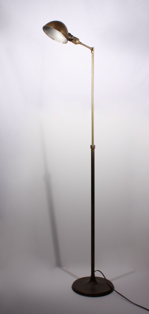 antique industrial telescoping floor lamp brass nl6 for sale. Black Bedroom Furniture Sets. Home Design Ideas