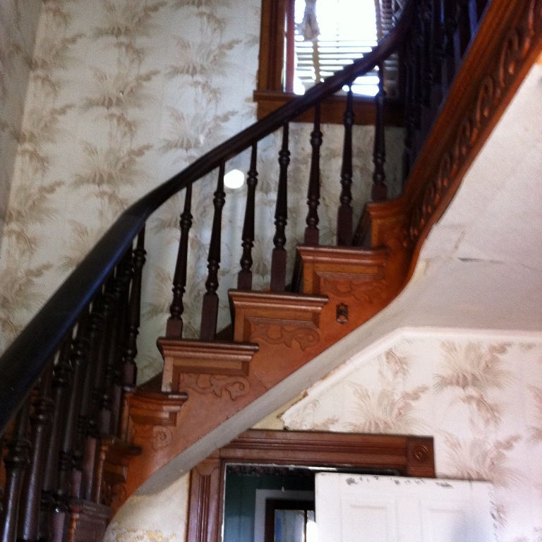 Complete Antique Staircase With Walnut Handrail, Large