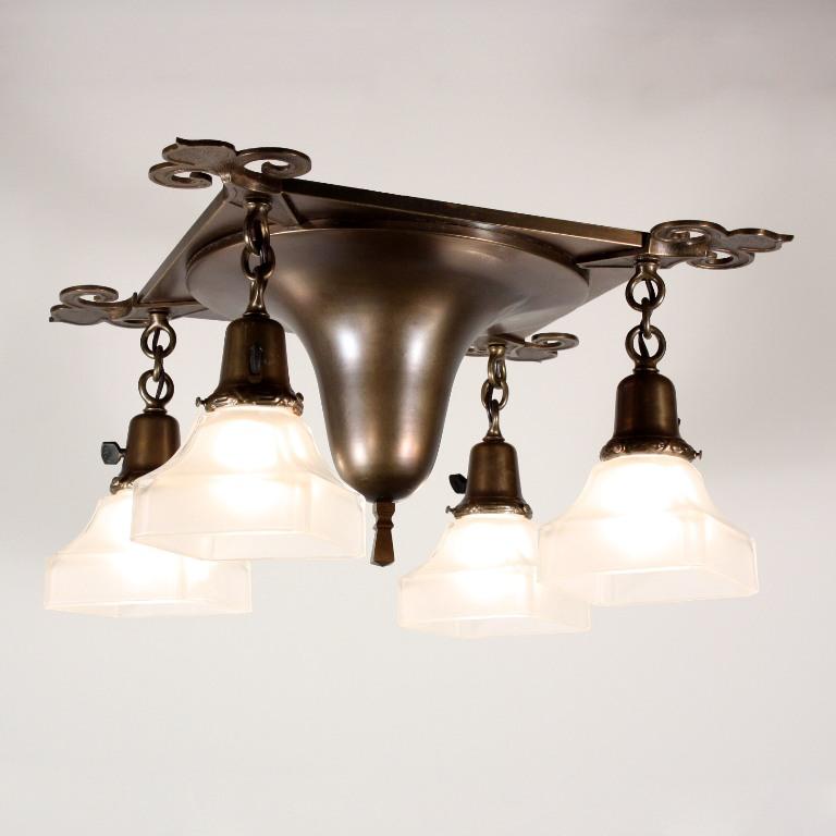 Marvelous antique arts crafts four light flush mount for Arts and crafts flush mount lighting