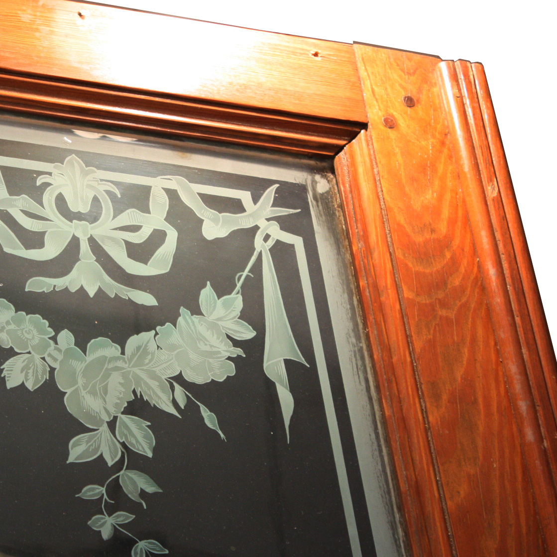 This is a gorgeous antique door with its original etched figural glass,  made in France in the 19th Century. The unusual triple layered etching  creates ... - Stunning Antique French Figural Etched Glass Door, 19th Century