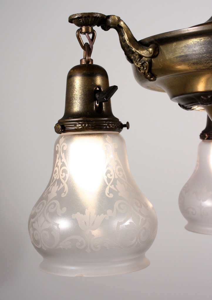 Superb antique three light brass chandelier with etched glass shades superb antique three light brass chandelier with etched glass shades early 1900s nc1002 for sale aloadofball Choice Image