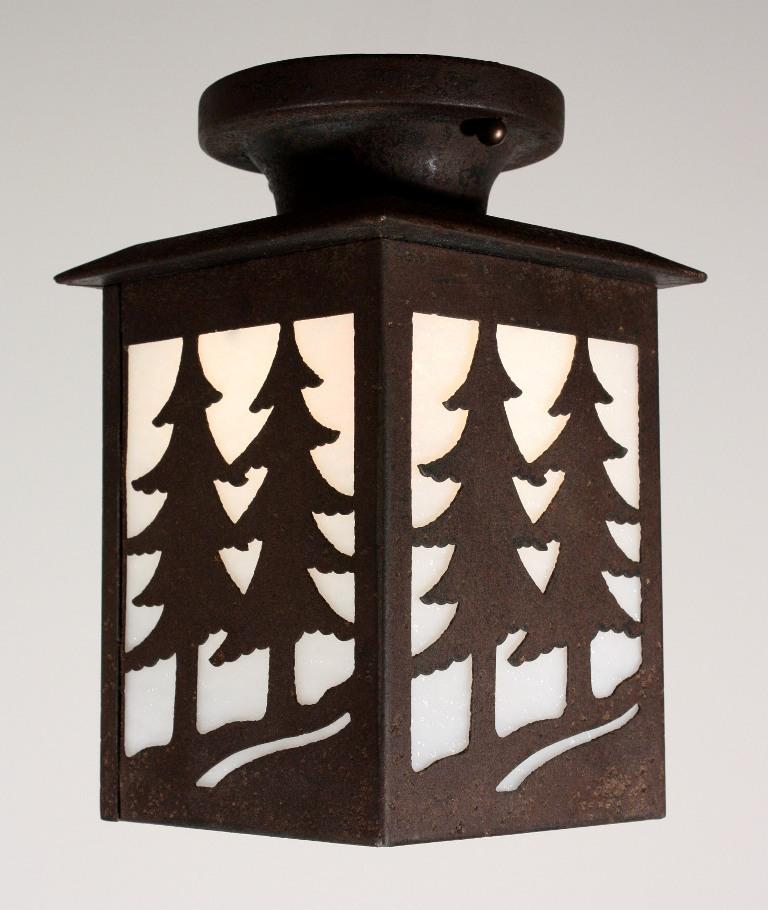 Unique antique arts crafts flush mount lantern nc1084 rw for Arts and crafts flush mount lighting