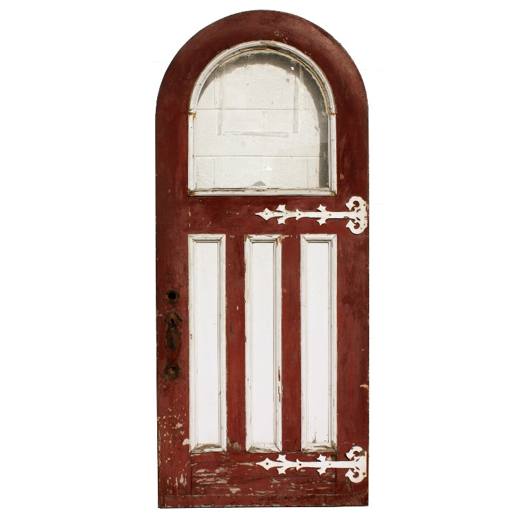 Antique 36 exterior arched door with strap hinges and arch for Exterior windows for sale
