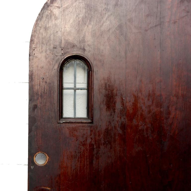 "Antique Tudor 36"" Arch Entry Door With Arched Window"
