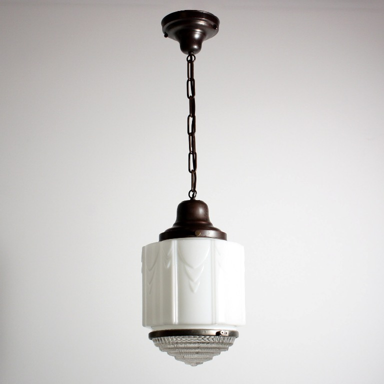 Antique Art Deco Skyscraper Pendant Light with Two-Part ...