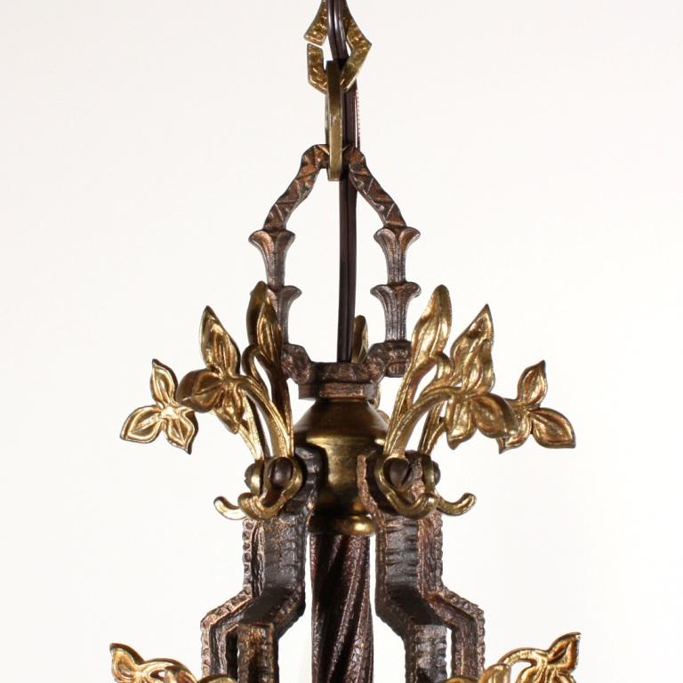 Fabulous Antique Five Light Chandelier With Foliage C