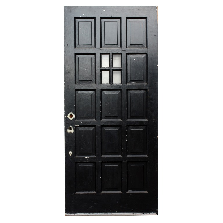 "A wonderful antique 36"" front door in pine, with a stained finish on one  side and black paint on the other. This salvaged entry door features a  beautiful ... - Antique Paneled 36"" Entry Door With Four-Pane Window NED137 For Sale"