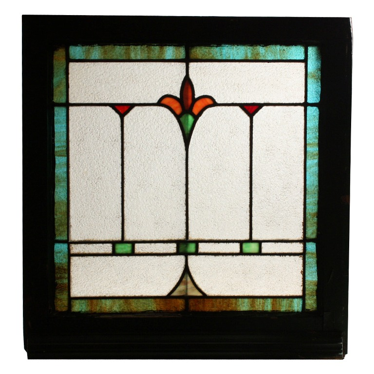 Fabulous Antique American Stained Glass Window With Flower