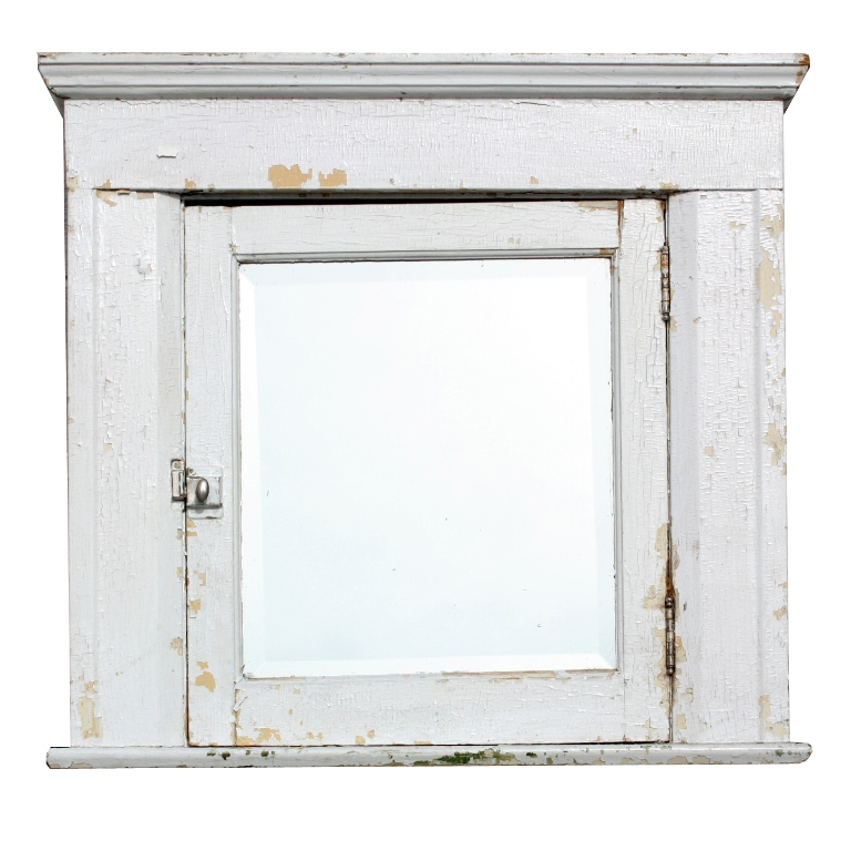 Antique Bathroom Medicine Cabinet With Beveled Mirror Bead Board Nmc17 For Sale