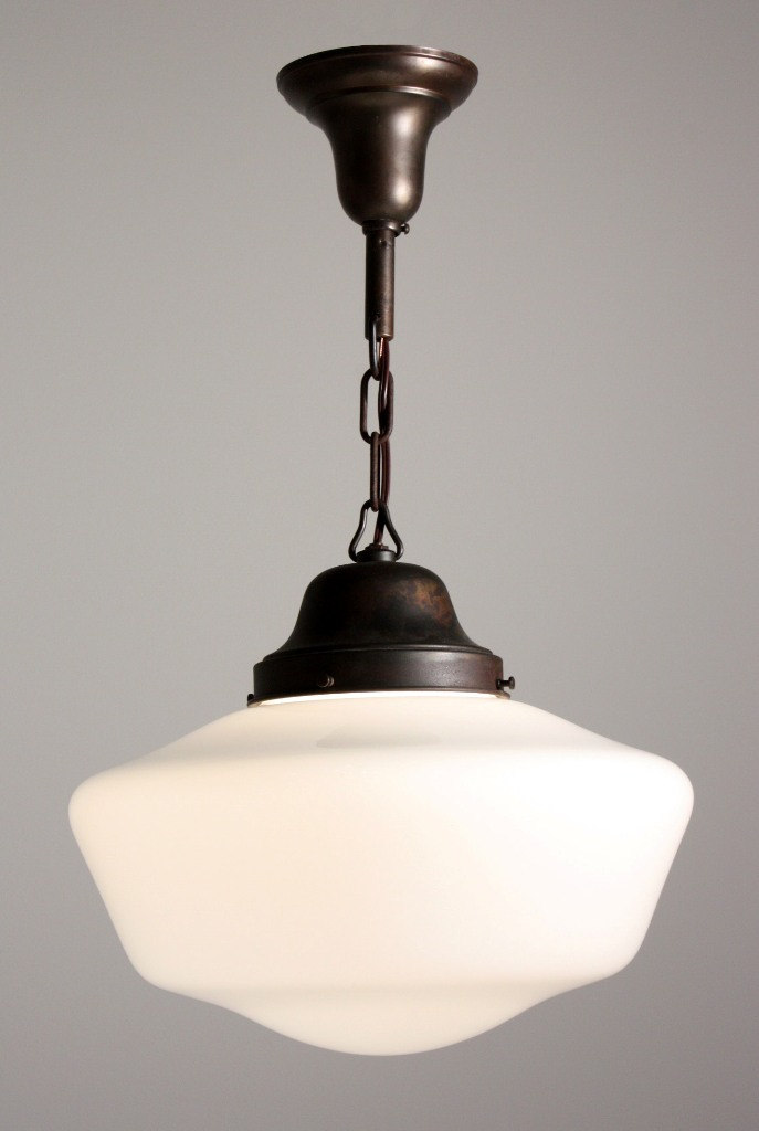Antique Industrial Schoolhouse Light With Glass Globe C 1930 S Nc1053 For Sale Antiques Com