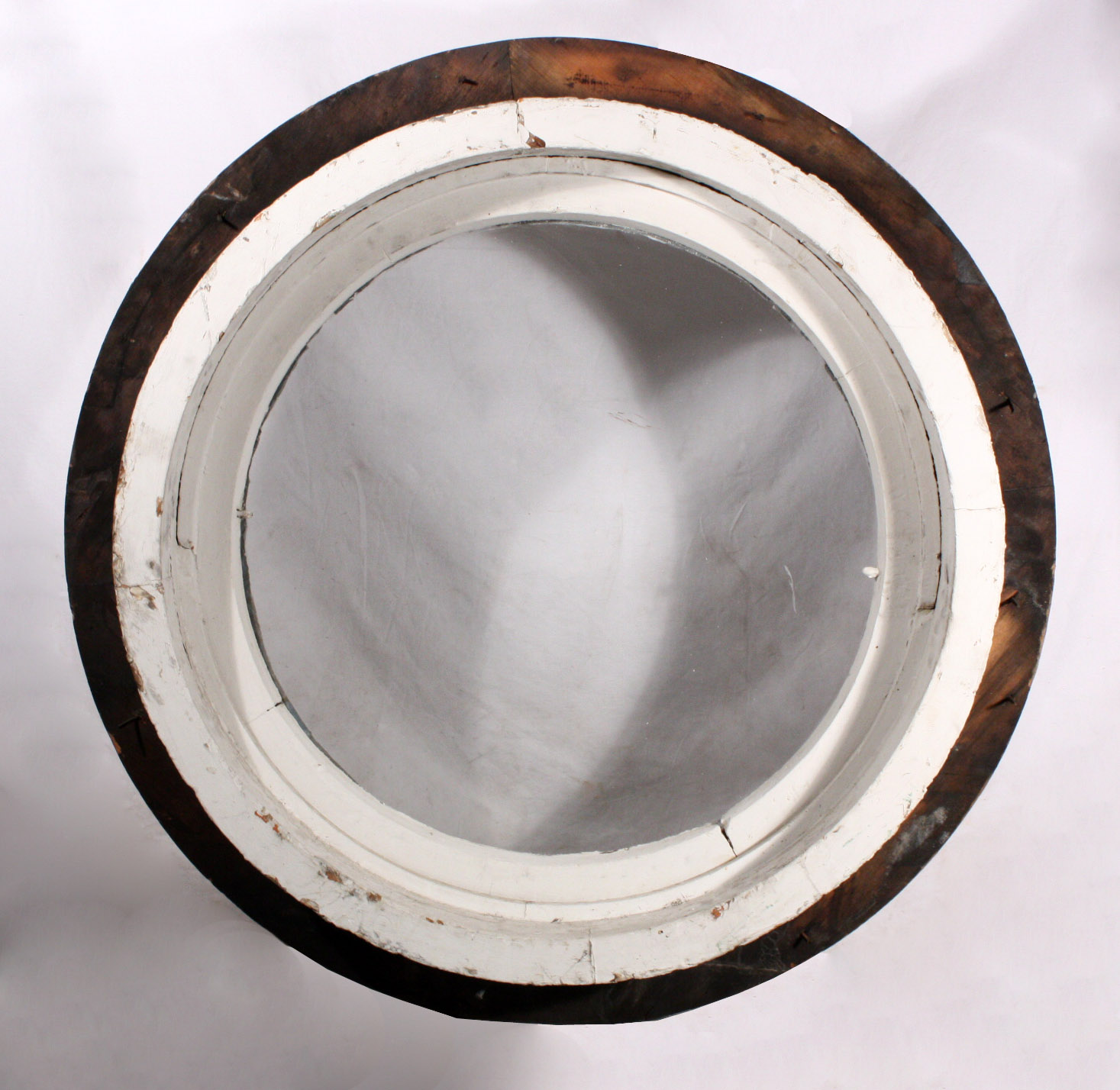 Unusual antique round window with tilting center early for 12 round window