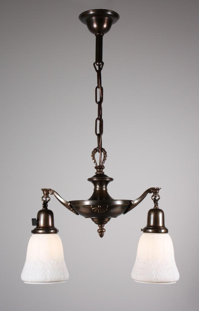 Wonderful Antique Two Light Brass Chandelier Original