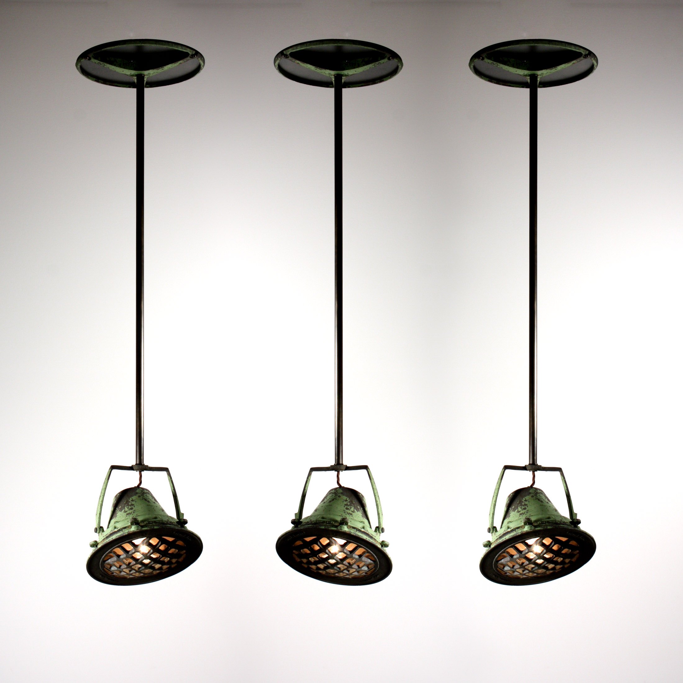 Three Matching Antique Industrial Pendant Lights From