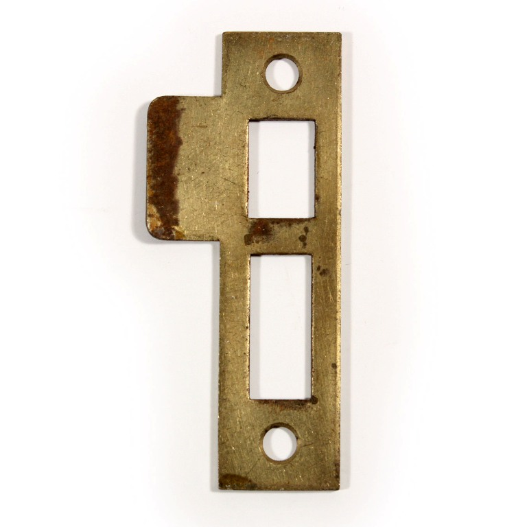 """Antique strikeplates (also known as """"keepers"""" or """"strikers"""") to fit antique  door hardware. This strike plate measures 3-7/16"""" long overall and has a  1/4"""" ... - Antique Strike Plates For Mortise Locks, 1/4"""" Spacing NSTP21 For"""
