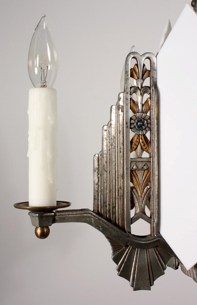 Fabulous Antique Art Deco Six Light Chandelier C 1930 S
