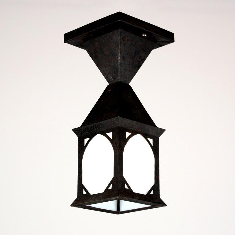 Porch Light Appraisal: Delightful Antique Arts & Crafts Exterior Lantern, Flush