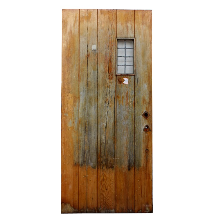 Salvaged 36 exterior plank door with window ned141 for for Exterior glass doors for sale