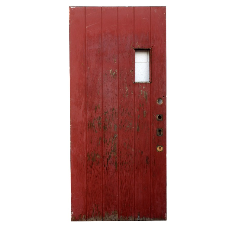 Antique 36 exterior plank door with small window early for Small exterior doors