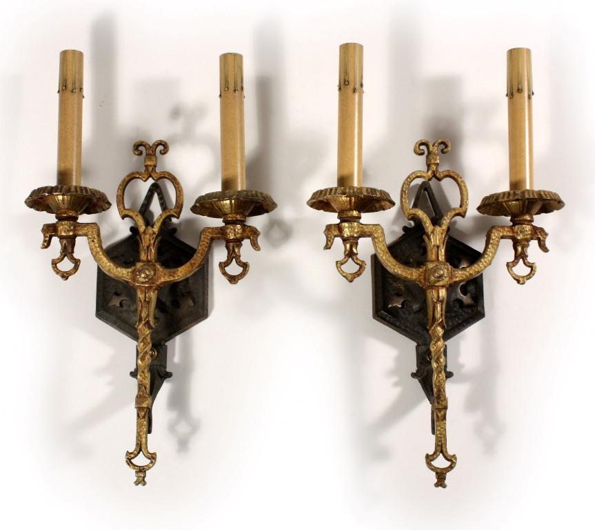 Magnificent Pair of Antique Spanish Revival Double-Arm Sconces, Iron & Brass NSP626 For Sale ...