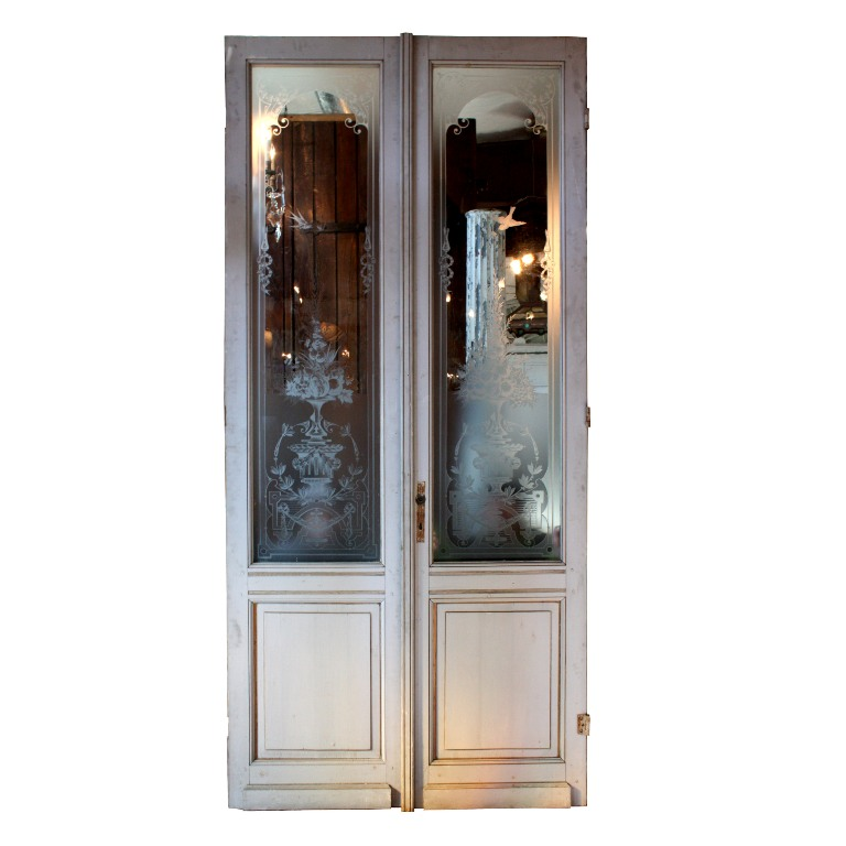 Incredible antique salvaged 50 exterior double doors with for Exterior glass doors for sale