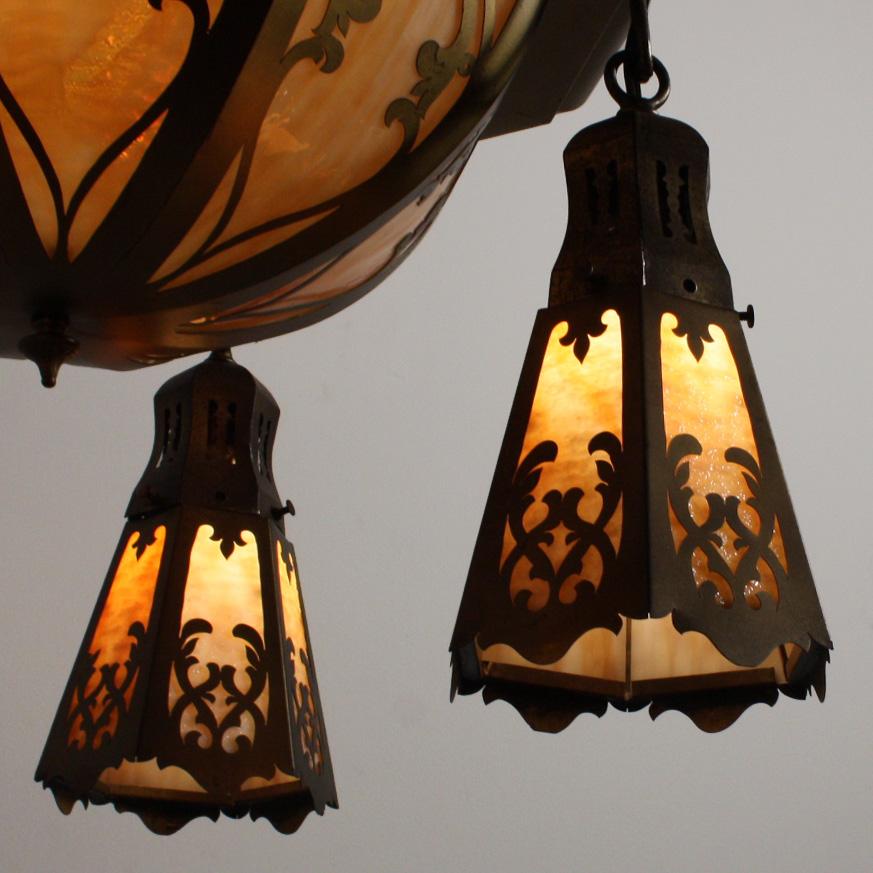 Large Antique Brass Six Light Chandelier With Original