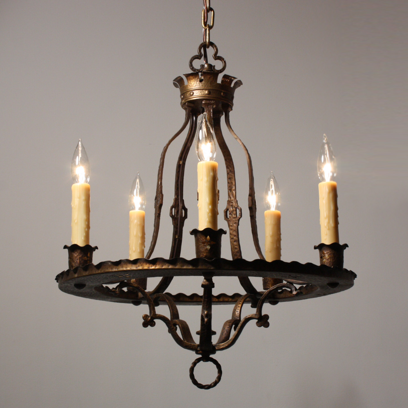 Attractive Antique Gothic Revival Five Light Cast Brass Chandelier Nc1667 Rw For Sale Antiques Com Classifieds