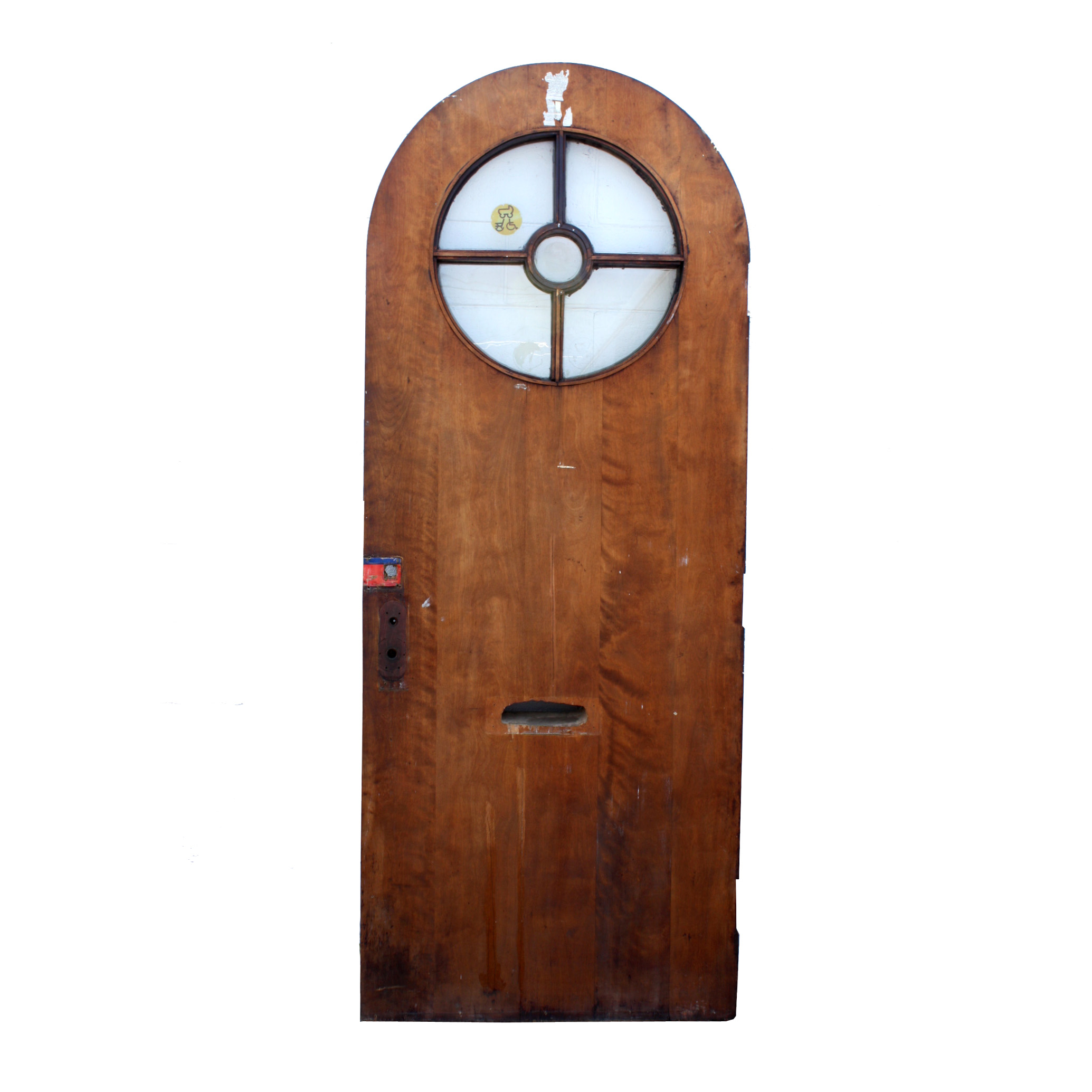"""Salvaged 36"""" Arched Entrance Door With Round Window And"""
