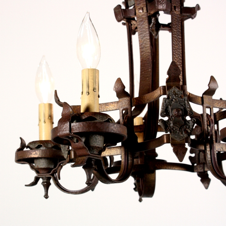 Wonderful Antique Spanish Revival Semi-Flush Mount Iron Five-Light  Chandelier, c. 1920s NC1356-RW - For Sale - Wonderful Antique Spanish Revival Semi-Flush Mount Iron Five-Light