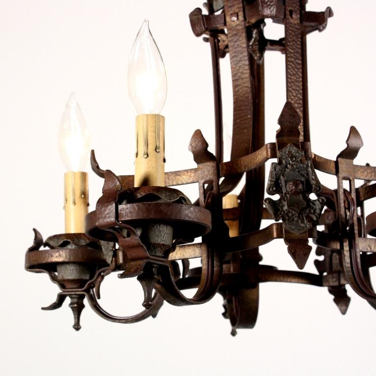 wonderful antique spanish revival semi flush mount iron five light