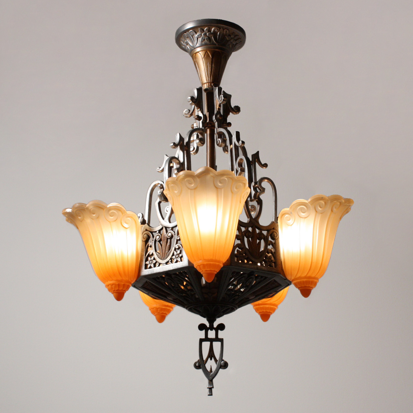 Stunning antique five light art deco slip shade chandelier by this is a fantastic antique art deco slip shade chandelier found in chicago c1930 in its original polychrome finish made by the lincoln company arubaitofo Choice Image