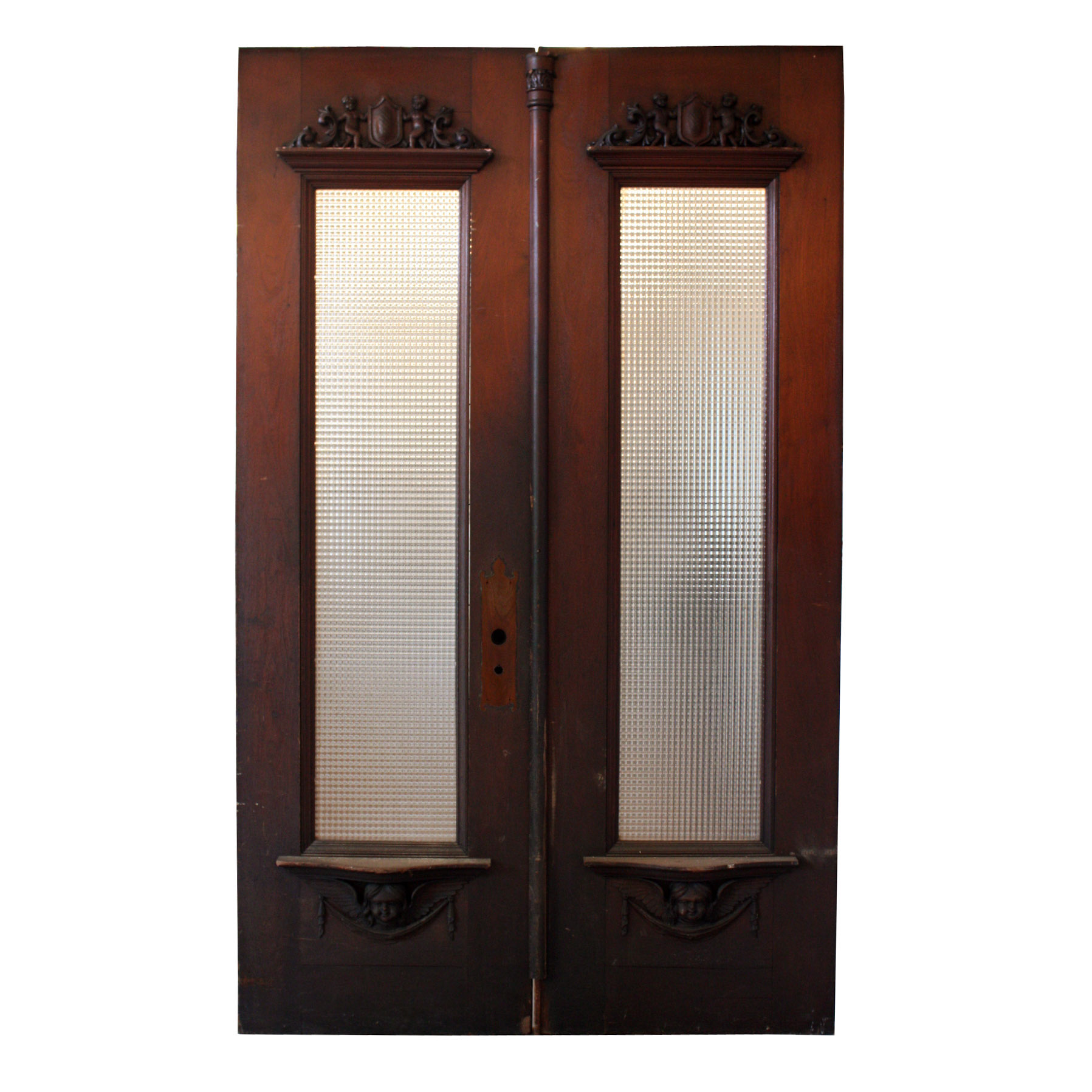 Amazing antique figural exterior double doors with windows for Exterior double doors for sale