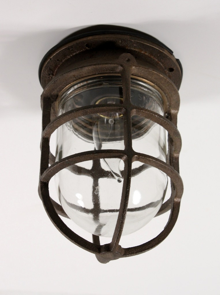 Antique industrial cast bronze cage light fixture with original an antique cast bronze industrial cage light fixture designed for use either as a sconce or a flush mount light this fixture is signed oceanic mozeypictures Images