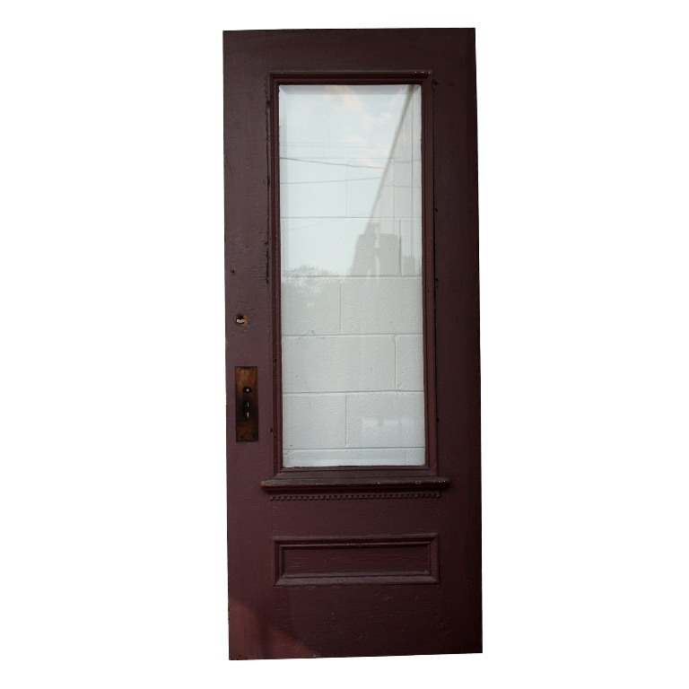 Salvaged 34 pine exterior door with dentil trim beveled for Exterior glass doors for sale