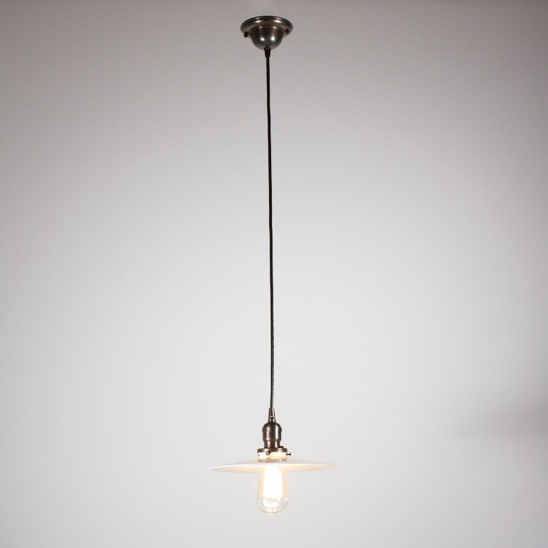 antique industrial pendant lights white. Two Matching Industrial Style Antique Brass Pendant Lights With Their Original Milk Glass Shades, Circa 1905. Each Features A Simple Canopy White D