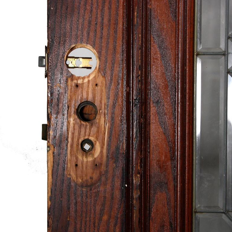 "Magnificent Antique 36"" Exterior Door With Beveled, Leaded"