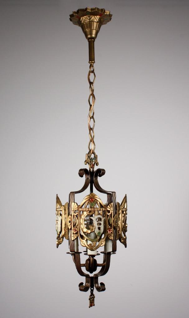 Remarkable Antique Pendant Light Original Polychrome