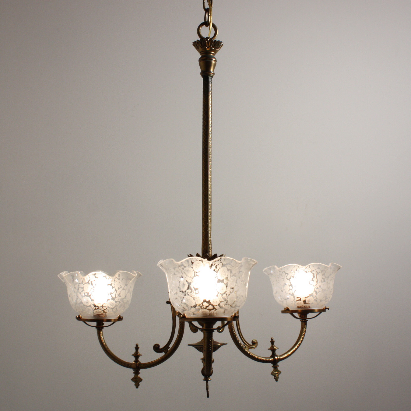spectacular antique aesthetic movement gas chandelier with original glass shades c 1880. Black Bedroom Furniture Sets. Home Design Ideas