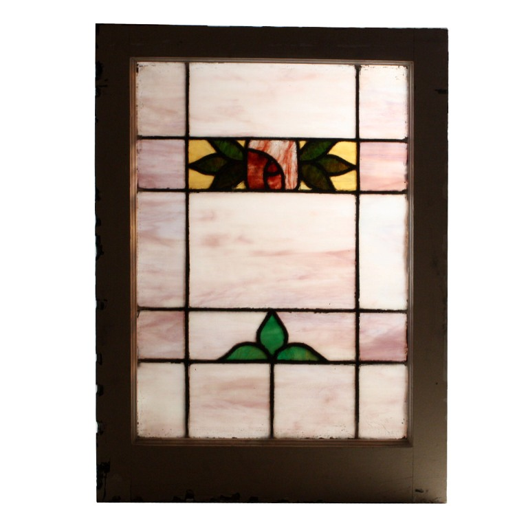 Beautiful antique american stained glass window with rose for 1900 stained glass window