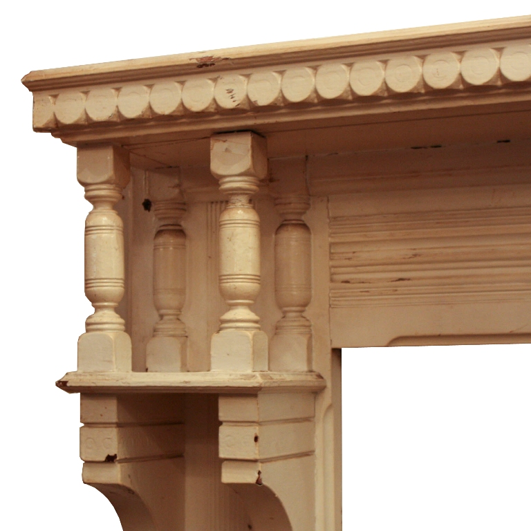 Fantastic antique walnut fireplace mantel with decorative for Architectural trim