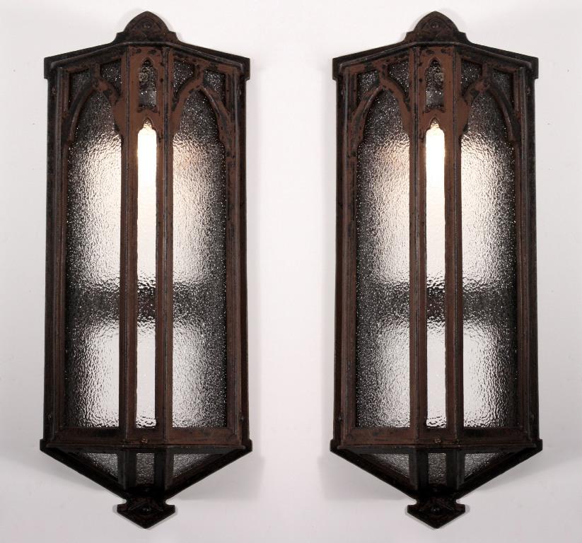 Large Pair Of Antique Gothic Revival Exterior Sconces Cast Iron C 1900 Nsp472 For Sale