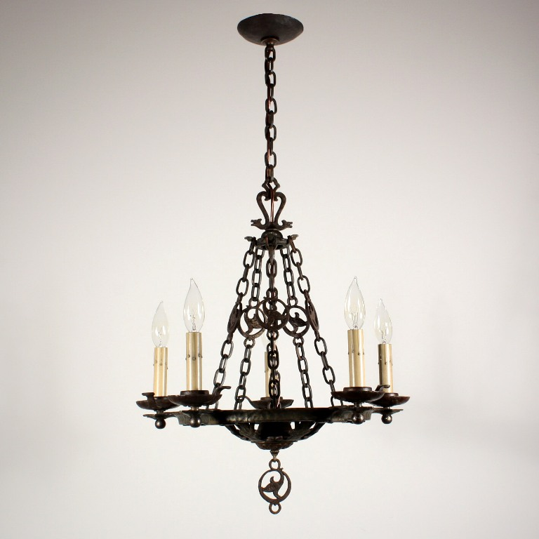 Handsome Antique Cast Iron Tudor Five Light Chandelier Circa 1930 The Fixture Was Made By Virden Company Begins With A Hammered
