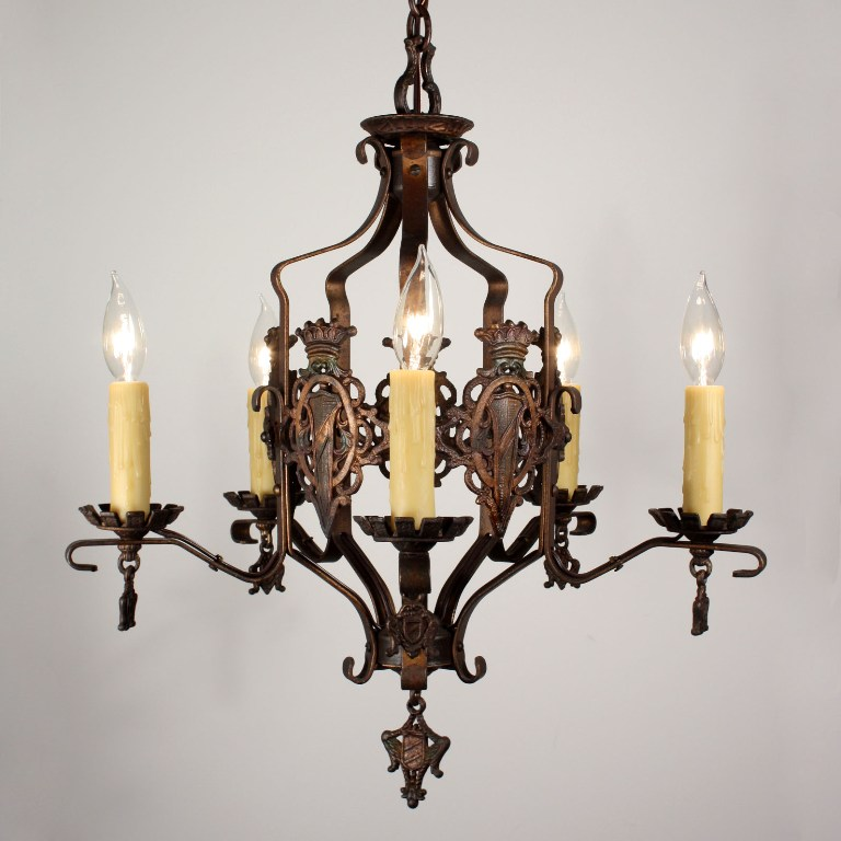Handsome antique iron spanish revival five light for Spanish revival lighting